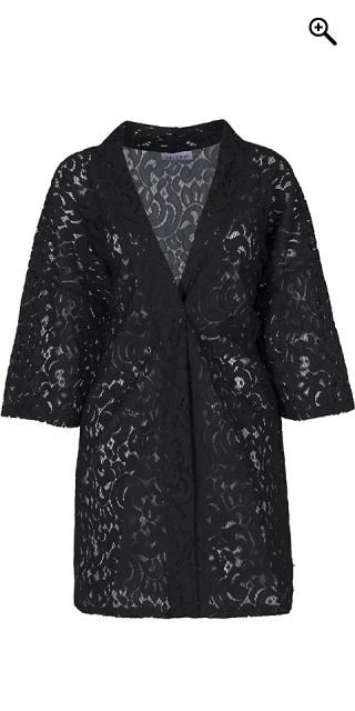 Zhenzi - Kimino cardigan rough structure lace - Black