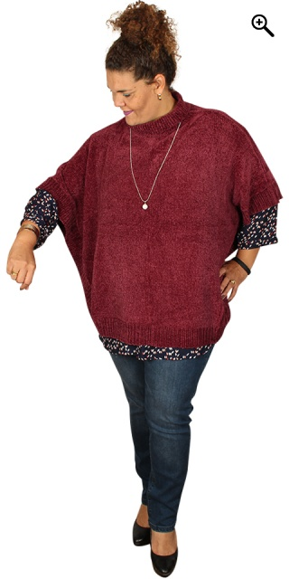 Zhenzi - Poncho in stylish soft chenille - Amarone
