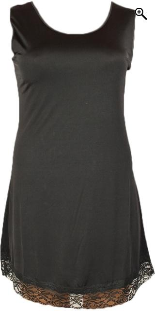 Gozzip - Lång underklänning med spets - Svart ded28b4fda43c