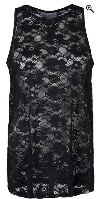 Zhenzi - Top in fine lace with width straps - Black