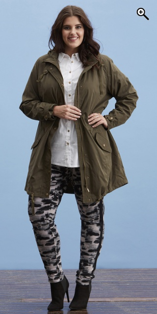 Zhenzi - Smart lined jacket in trench style - Pine green