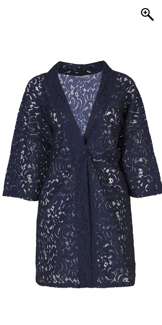 Zhenzi - Kimino cardigan rough structure lace - Navy