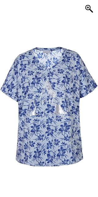 Zhenzi - T-Shirt mit kurze Ärmeln und V-Hals, in smart Druck und Silber  Druck