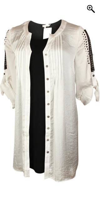 Q neel - Lång skjorta tunika med ärmar som kan draperas och super ... d6c317b0e9eec