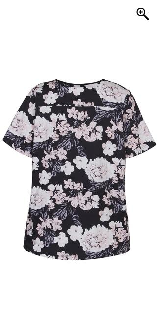 e4da3959583f Zhenzi - Strechy blomstret fitness bluse med korte ærmer - Pale jardin