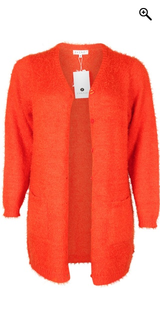 Zhenzi - All-buttoned furry cardigan - Red clay