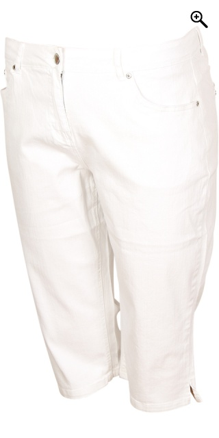 Zhenzi - Step pants strechy stumpebuks - White