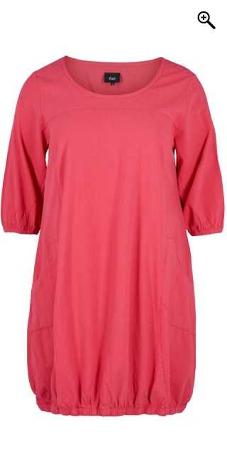 64421102 Zizzi - Jelena bomulds kjole med 3/4 ærmer og 2 lomme - Raspberry wine