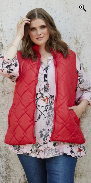Zhenzi - Nice zipped-through quilt vest - Carmine