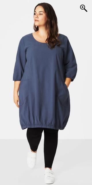 c0d958a6 Zizzi - Jelena bomulds kjole med 3/4 ærmer og 2 lomme - Vintage indigo