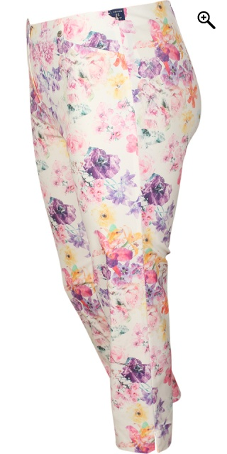 Robell - Rose stumpe stretch buks - White w/flower
