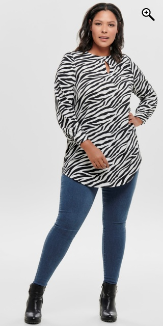 ONLY Carmakoma - Tunica shirt - Cloud dancer/zebra
