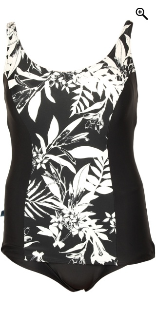 c57f9d960f0 Mirou Swimwear - Smart badedragt med print sort-hvide palmer - Black ...