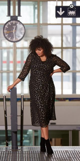 Zoey Harper Chiffon Wrap Dress Black Print Mix