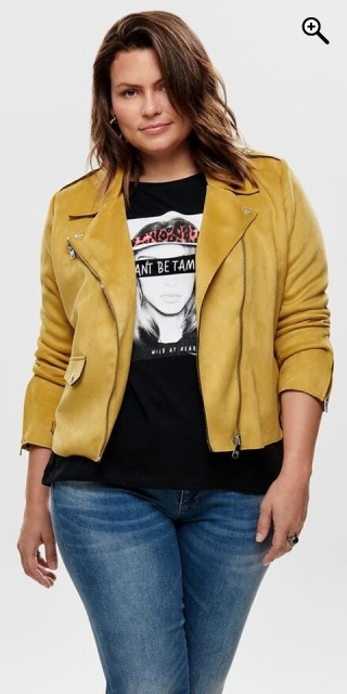 ONLY Carmakoma - Smart biker jakke i det blødeste fake suede - Golden yellow