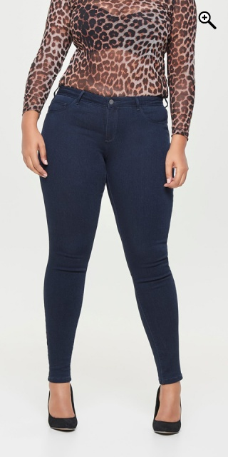 ONLY Carmakoma - Strechy push up regular skinny jeans - Dark blue denim