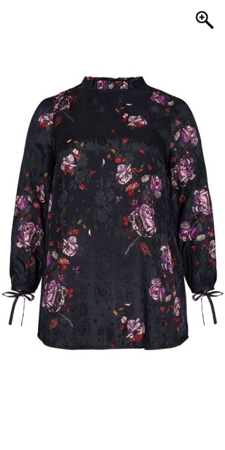 Adia Fashion - Blouse with flowers - Dark navy