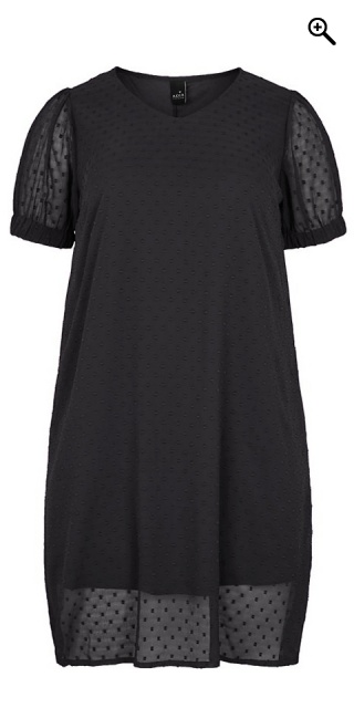 Adia Fashion - Chiffon dress with weave - Black