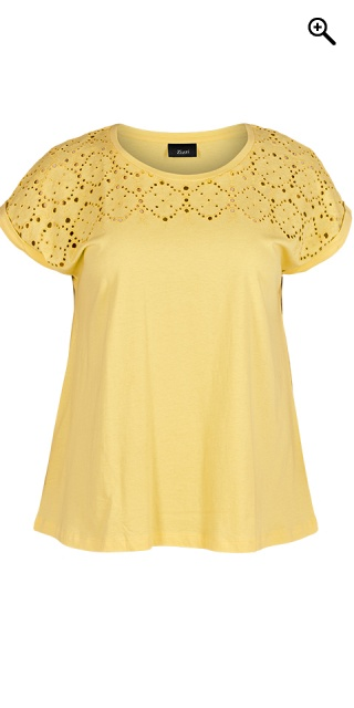 Zizzi - T-shirt with embroidery anglaise - Golden haze