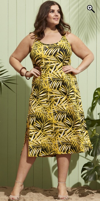 Zhenzi - Coty viscose dress with print - Empire yellow