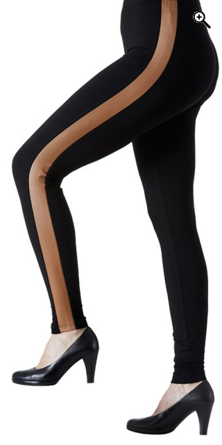 Festival - Leggings med camel/black pu - Camel/black
