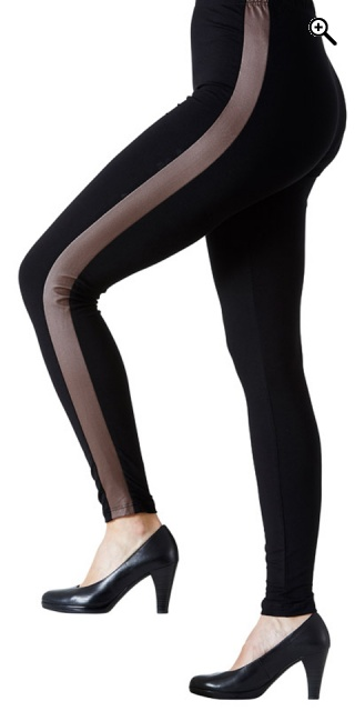 Festival - Leggings med camel/black pu - Brown/black
