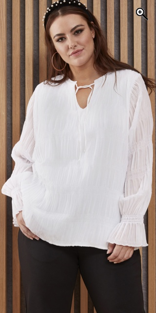 Zhenzi - Elga blouse with smock effect - White