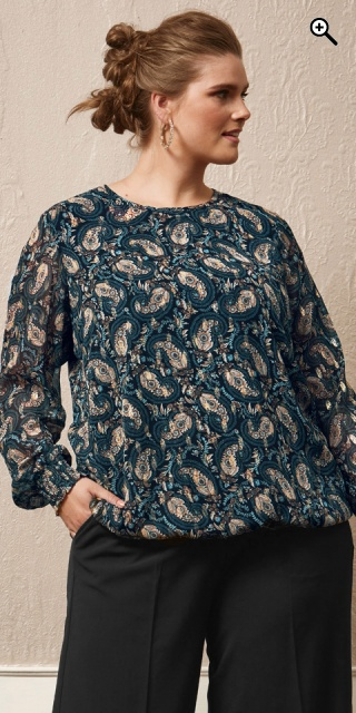 Zhenzi - Jump blouse in paisley print - Eclipse blue