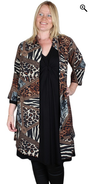 Studio Clothing - Lang printet skjorte - Blue animal print
