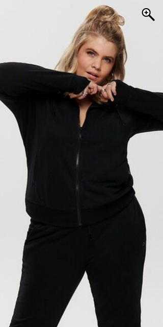ONLY PLAY CURVY - Hoodie fitness jacket - Black w/white