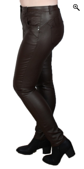 Zhenzi - Curve coated pants - Chocolate brown