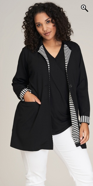 Studio Clothing - Tina blazer jacket - Black/white stripe