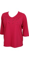 Zhenzi - Knitted blouse with 3/4-sleeves and round neck-strewn with nice stars on front panel