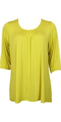 Zhenzi - T-shirt/tunica with 3/4-sleeves as ends with rubber band-nice smock at the neck and in light a-shaped