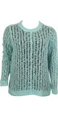 Zhenzi - Pulloverstrik med flot hulmønster og lange ærmer
