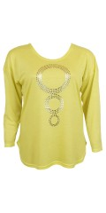 Cassiopeia - Hopla oversize knit blouse with round neck and silver circles front
