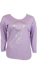 Cassiopeia - Oversize knit blouse with round neck and silver circles front