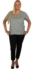 Zhenzi - T-shirt med korte ærmer og elastik afslutning forneden