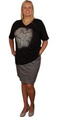 Zhenzi - Smart kort nederdel med strech, lommer, bæltestropper og lynlås. regulerbar elastik i taljen