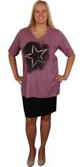 Zhenzi - T-shirt med v-hals og korte ærmer