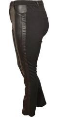 DNY (MARC LAUGE) - Smart buks/leggings med lær titt foran, lukkes med bknapp og glidelås, med beltestropper og strikk i siden
