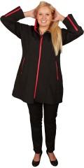 DNY (MARC LAUGE) - Lang svart bløt shell jakke med rød glidelås, den kjente kvalitet fra dny