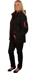 DNY (MARC LAUGE) - Kort svart bløt shell jakke med rød glidelås, den kjente kvalitet fra dny