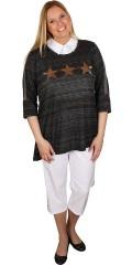 Handberg - Bluse med stjerne og 3/4 ærmer der kan draperes
