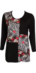 Handberg - Tunica with floral print, round neck and long sleeves