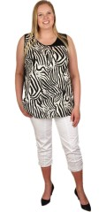 Handberg - Top/blouse without sleeves and with zebra pattern in front piece