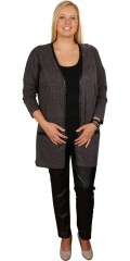 Zhenzi - Cardigan med lange ærmer i tynd meleret strik