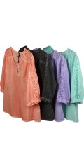 Zhenzi - Blouse pigment dyed with nice lace over the shoulder and in the sleeves