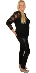 Zhenzi - Long-sleeve lace t-shirt with round neck, super quality and stretch