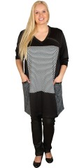 Cassiopeia - Dress with smart print and 3/4 sleeves and 2 pockets